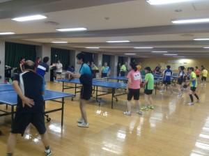卓球大会試合前練習